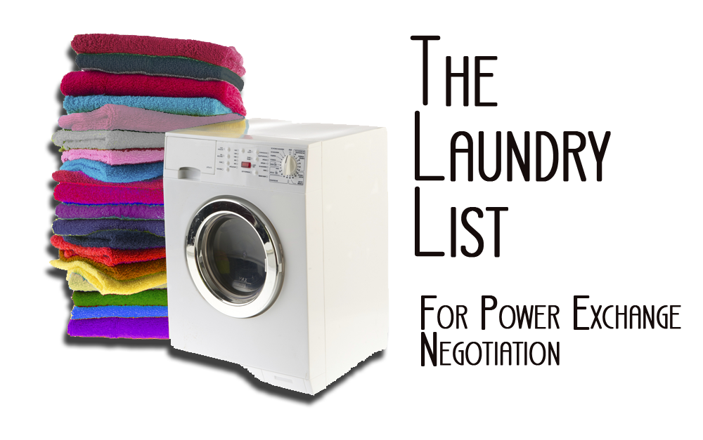 "Graphic of Laundry machine with towels in colors of various pride flags, and title caption ""The Laundry List"" For Power Exchange Negotation"